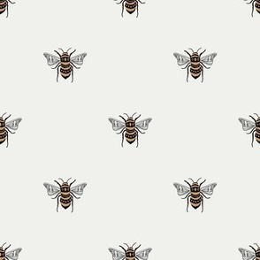 SMALL bee fabric - honey bee fabric, minimal bee design - sfx0602 snow