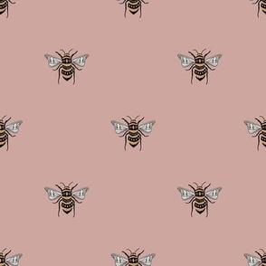 SMALL bee fabric - honey bee fabric, minimal bee design - sfx1512 rose pink
