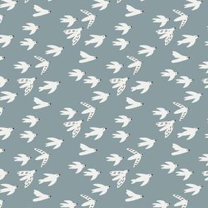 birds  fabric - swallows nursery fabric - sfx4408 slate
