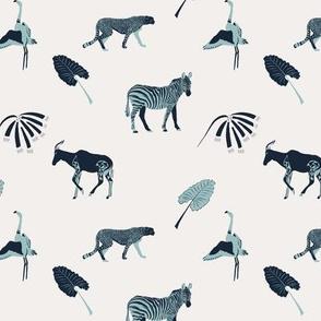 Wild animals in blue
