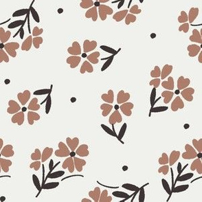 sweet flower fabric - vintage feedsack floral - sfx1227 cafe