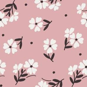 sweet flower fabric - vintage feedsack floral -sfx1611 powder pink