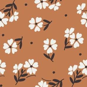 sweet flower fabric - vintage feedsack floral -sfx1346 caramel