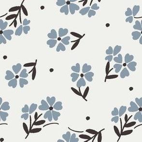 sweet flower fabric - vintage feedsack floral -sfx4013 denim