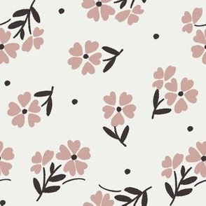 sweet flower fabric - vintage feedsack floral -sfx1512 rose