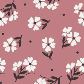 sweet flower fabric - vintage feedsack floral -sfx1610 dusty rose