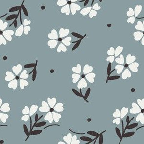 sweet flower fabric - vintage feedsack floral -sfx4408 slate