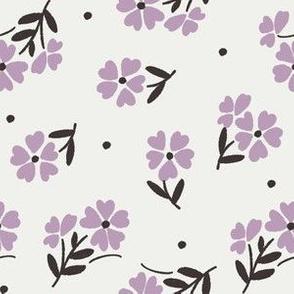sweet flower fabric - vintage feedsack floral -sfx3307 lavender