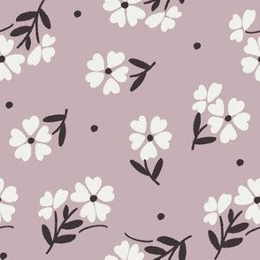 sweet flower fabric - vintage feedsack floral -sfx1905 lilac