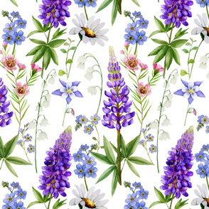 Lupines and wild flowers meadow - Watercolor hand painted