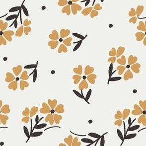 sweet flower fabric - vintage feedsack floral -sfx1144 oak leaf