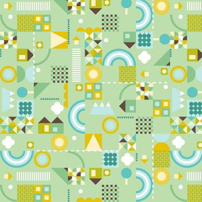 kids geometric - green and small