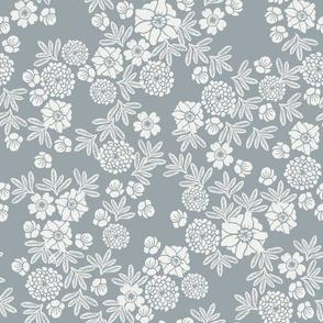 woodcut floral - sfx4305, quarry, dusty blue, blue floral, floral,
