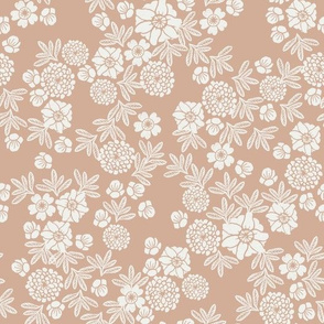 woodcut floral fabric - almond sfx1213 block print wallpaper, woodcut wallpaper, linocut florals, home decor fabric, muted earth tones fabric