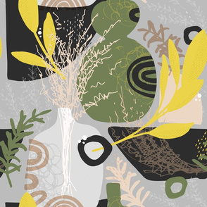 Large Green and Yellow Herbs Abstract Seamless Repeat Pattern