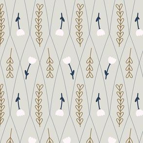Grey, ocher, navy, and blush botanicals // Geometric florals // Modern home decor