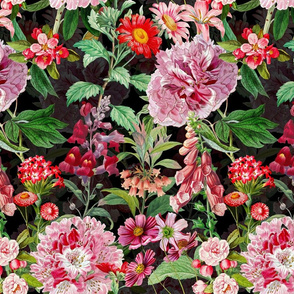 "12"" Vintage Botanical Pink Springflower Meadow  Black"