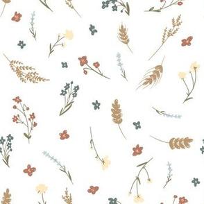 Wild flowers on white