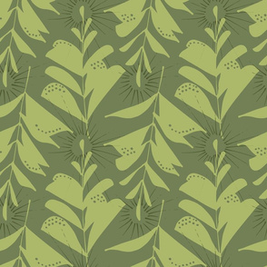 Large Green Leaves Abstract Seamless Repeat Pattern