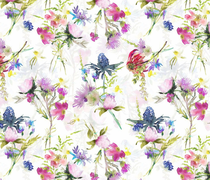 """14"""" Hand painted Watercolor Midsummer wild flowers meadow double layer"""