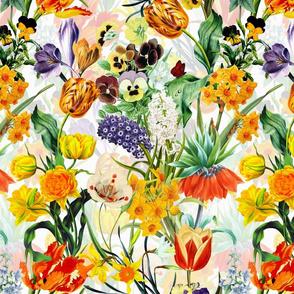 "14"" Vintage Botanical Springflower Meadow - White"