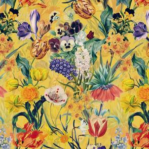 "14"" Vintage Botanical Springflower Meadow - Yellow"