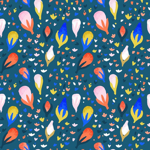 Large Navy Buds Abstract Seamless Repeat Pattern