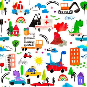 Small - Dino City Watercolor Transportation