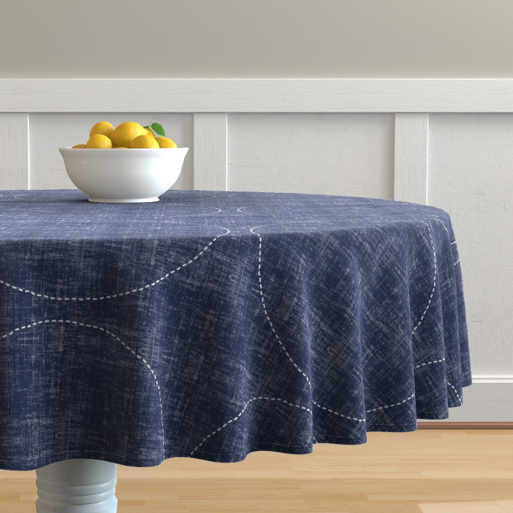 Malay Round Tablecloth featuring Stitches on Navy-Large Circles by twigged