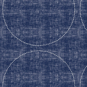 Stitches on Navy-Large Circles