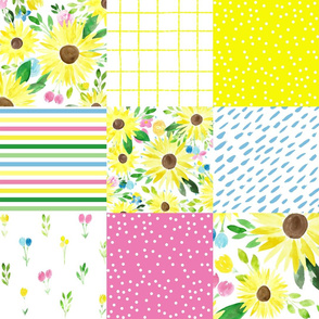 spring showers sunflower cheater quilt