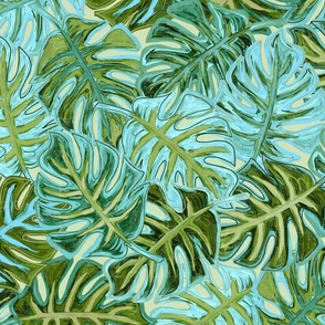 Tropical leaves - greens and aqua