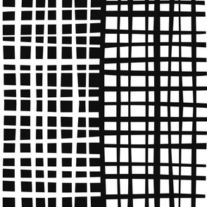 Loose Lines, stripe grid in black and white