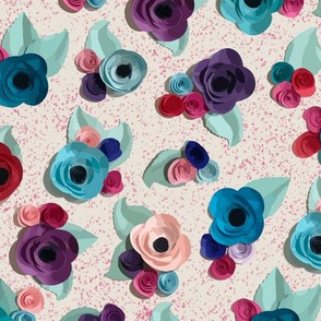 Paper Flowers on Pink Speckles by ArtfulFreddy