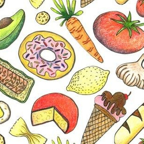 paper cut food, white yellow red orange green colorful