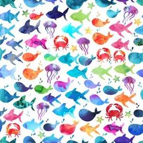 Rainbow Watercolor Fish Under The Sea