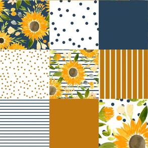 sunflower fields for fall cheater quilt - navy & rust