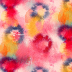 tie and dye circles red pink