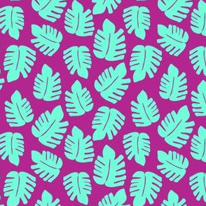 Green Monstera on Purple/pink