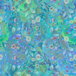 medium watercolor flowers meadow field BLUE FLWRHT
