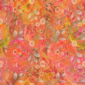 medium watercolor flowers meadow field ORANGE FLWRHT