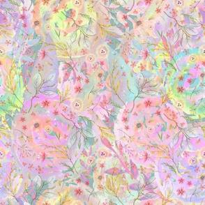 Medium watercolor flowers meadow field PASTEL MULTICOLOR FLWRHT