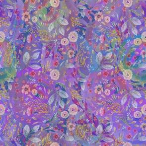 medium watercolor flowers meadow field PURPLE FLWRHT