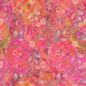 medium watercolor flowers meadow field PINK CORAL FLWRHT