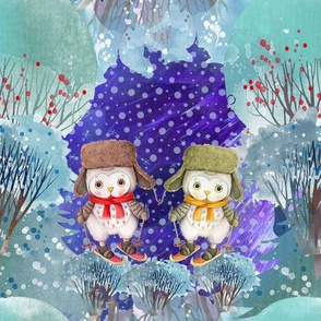 "8"" SNOW DAY 2 cute OWLS SKI 3 CHRISTMAS WINTER NIGHT FLWRHT"