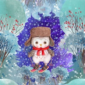 "8"" SNOW DAY OWLS SKI 2 CHRISTMAS WINTER NIGHT FLWRHT"