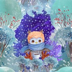 "8"" SNOW DAY OWL COFFEE CUP31 CHRISTMAS WINTER NIGHT BLUE FLWRHT"