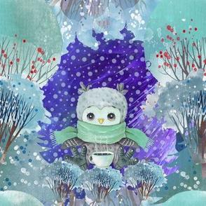 "8"" SNOW DAY OWL COFFEE CUP 2 CHRISTMAS WINTER NIGHT GREEN FLWRHT"