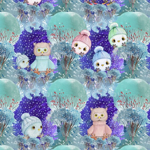 """8"""" checkerboard snow day 16 cute owls night christmas winter cheaterquilt FLWRHT"""