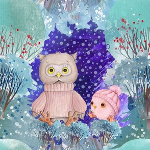 """8"""" SNOW DAY MOM AND BABY OWL 2 CHRISTMAS WINTER NIGHT PINK CORAL FLWRHT"""